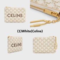 CELINE Triomphe Unisex Small Wallet Logo Coin Cases
