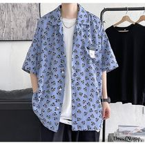 Shirts Heart Street Style Bi-color Cotton Short Sleeves Oversized 6