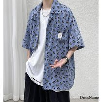 Shirts Heart Street Style Bi-color Cotton Short Sleeves Oversized 8