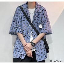 Shirts Heart Street Style Bi-color Cotton Short Sleeves Oversized 10