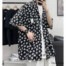 Shirts Heart Street Style Bi-color Cotton Short Sleeves Oversized 11