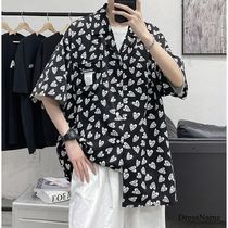 Shirts Heart Street Style Bi-color Cotton Short Sleeves Oversized 14