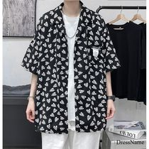 Shirts Heart Street Style Bi-color Cotton Short Sleeves Oversized 15