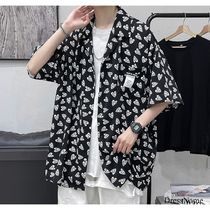 Shirts Heart Street Style Bi-color Cotton Short Sleeves Oversized 16