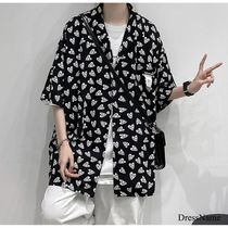 Shirts Heart Street Style Bi-color Cotton Short Sleeves Oversized 20