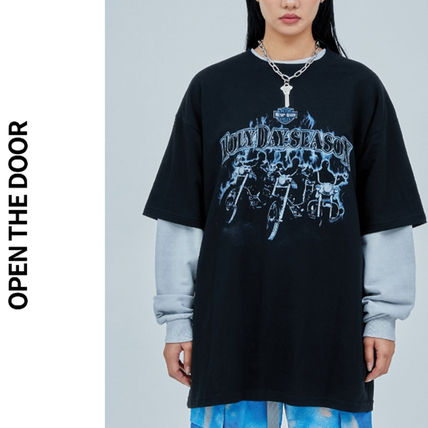 OPEN THE DOOR More T-Shirts Unisex Street Style Collaboration Plain Cotton Short Sleeves
