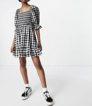 New Look Short Gingham Casual Style Cotton Short Sleeves Puff Sleeves