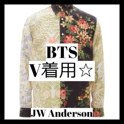 J W ANDERSON Shirts Flower Patterns Unisex Long Sleeves Designers Shirts