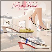 Roger Vivier Square Toe Casual Style Tweed Leather Party Style