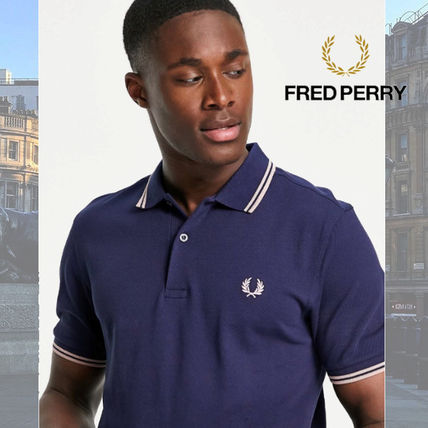 FRED PERRY Polos Unisex Street Style Cotton Short Sleeves Logo Polos