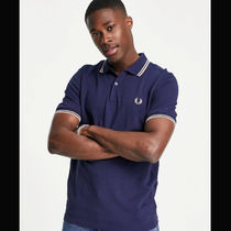 FRED PERRY Logo Unisex Cotton Short Sleeves Street Style Polos