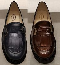 TOD'S Casual Style Plain Leather Fringes Office Style