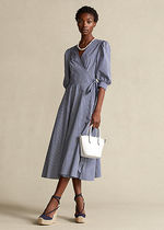 POLO RALPH LAUREN Wrap Dresses Gingham Casual Style A-line Flared Street Style