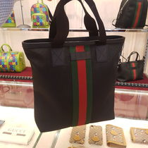 GUCCI Stripes Canvas Leather Small Shoulder Bag Logo Totes