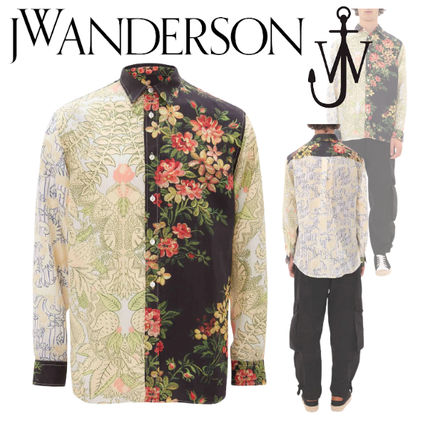 J W ANDERSON Shirts Button-down Flower Patterns Unisex Street Style Long Sleeves