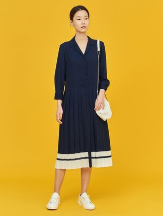 BEAN POLE Casual Style Cropped Plain Medium Office Style Dresses