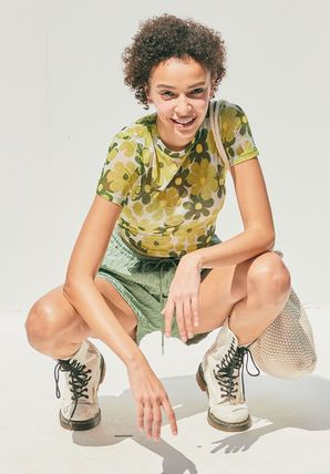 citybreeze Short Flower Patterns Street Style Short Sleeves Cropped
