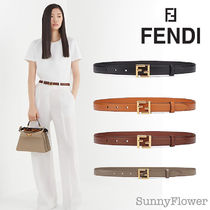 FENDI Casual Style Plain Leather Office Style Formal Style  Logo