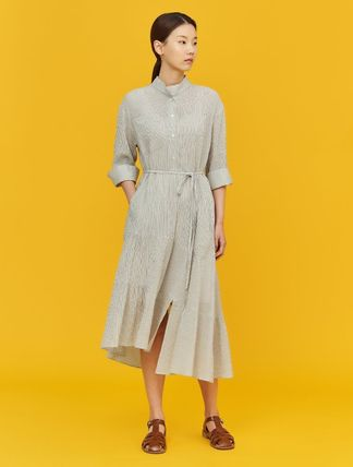 BEAN POLE Stripes Casual Style Cotton Long Short Sleeves Office Style