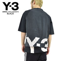 Y-3 Crew Neck Pullovers Unisex Street Style Cotton Short Sleeves