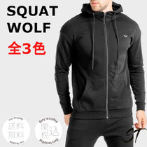 SQUAT WOLF Unisex Blended Fabrics Street Style Activewear Tops