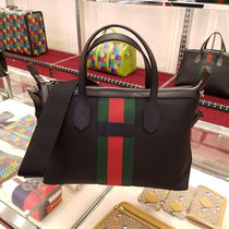 GUCCI Stripes A4 2WAY Leather Logo Totes