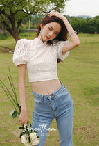 Since Then Short Flower Patterns Casual Style Blended Fabrics Cotton