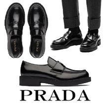 PRADA Brushed Leather Loafers