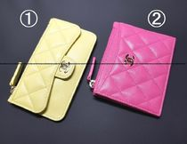 CHANEL TIMELESS CLASSICS Unisex Leather Small Wallet Card Holders