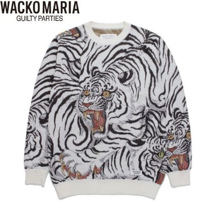 WACKO MARIA Sweaters Crew Neck Pullovers Street Style Long Sleeves Cotton