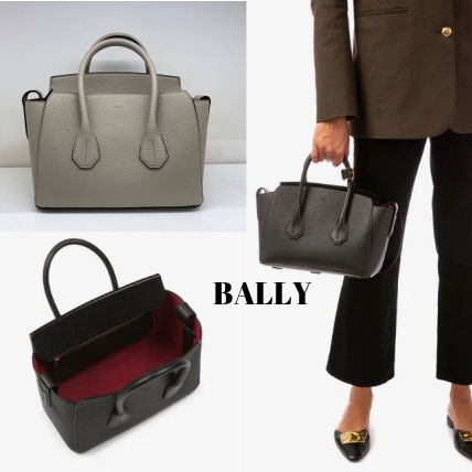 BALLY Handbags Casual Style A4 Plain Leather Party Style Office Style