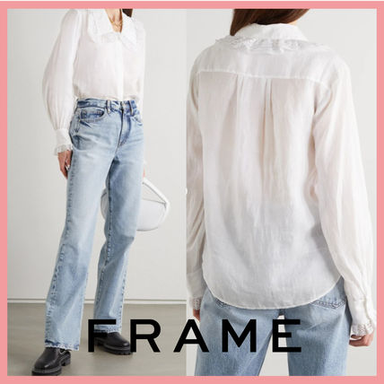FRAME DENIM Shirts & Blouses Casual Style Long Sleeves Plain Party Style Office Style