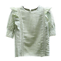 Cable Knit Dots Casual Style Plain Short Sleeves Lace