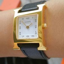 HERMES Leather Square Quartz Watches Stainless Analog Watches