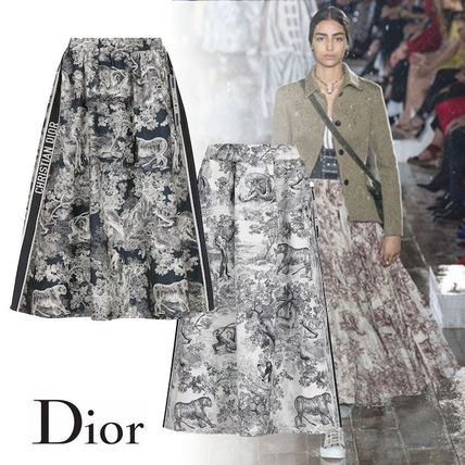 Christian Dior Flared Skirts Stripes Casual Style Other Animal Patterns