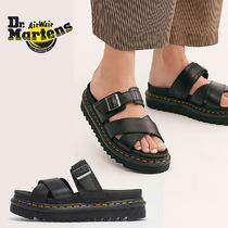 Dr Martens Open Toe Rubber Sole Casual Style Unisex Blended Fabrics