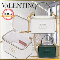 VALENTINO VLOGO Casual Style Calfskin 2WAY Chain Plain Leather Party Style