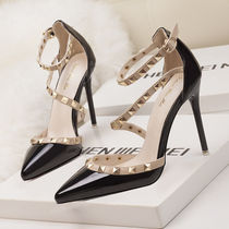 Casual Style Enamel Plain Pin Heels Party Style Office Style