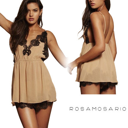 ROSAMOSARIO Slips & Camisoles Street Style Collaboration Lace Glitter Slips & Camisoles