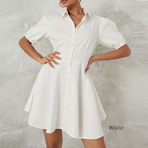 Missguided Short Casual Style A-line Flared V-Neck Plain Short Sleeves