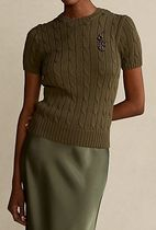 Ralph Lauren Crew Neck Cable Knit Casual Style Blended Fabrics