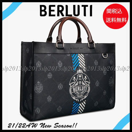 Berluti Business & Briefcases Ulysse Small Canvas And Leather Tote Bag