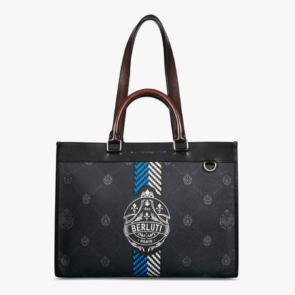 Berluti Business & Briefcases Ulysse Small Canvas And Leather Tote Bag 3