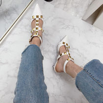 Plain Toe Casual Style Faux Fur Pin Heels Party Style
