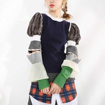 Cable Knit Short Gingham Glen Patterns Tartan Casual Style