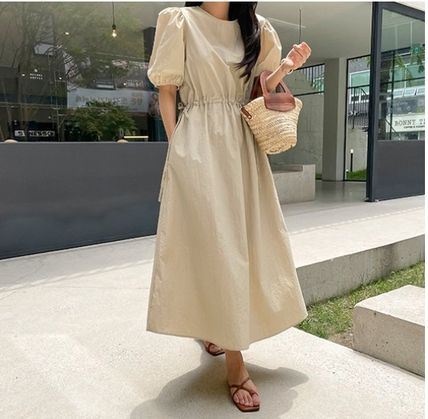 RONIEL Dresses Casual Style A-line Flared Cropped Plain Long Short Sleeves