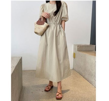 RONIEL Dresses Casual Style A-line Flared Cropped Plain Long Short Sleeves 2