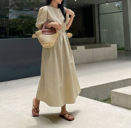 RONIEL Dresses Casual Style A-line Flared Cropped Plain Long Short Sleeves 3