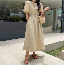 RONIEL Dresses Casual Style A-line Flared Cropped Plain Long Short Sleeves 4