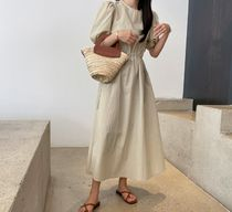 RONIEL Dresses Casual Style A-line Flared Cropped Plain Long Short Sleeves 5